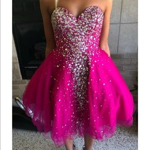 pink strapless homecoming dress with gems